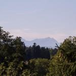 Blick vom Balkon auf den schweizerischen Säntis